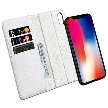 Zover iPhone X Case Detachable Genuine Leather Wallet Case With Auto Sleep/Wake Function Support Wireless Charging Magnetic Car Mount Holder Kickstand Feature Magnetic Closure Gift Box White