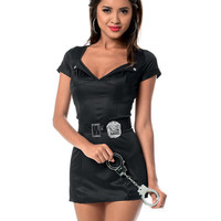 Bedroom Officer Dress, Belt, Badge, Cuffs & Panty Black-white O-s