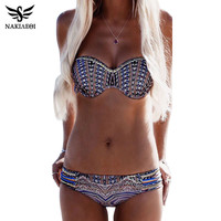NAKIAEOI Bikinis Women Swimsuit Push Up Swimwear Women 2016 Sexy Bandeau Print Brazilian Bikini Set Beach Bathing Suit Swim Wear