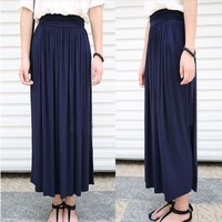 Summer Pleated Stretchable Women Maxi Skirts