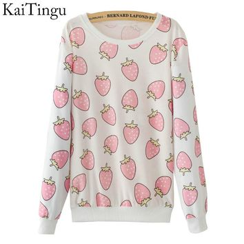 New Fashion Autumn Women Long Sleeve Tracksuit Hoodies Cute Funny Pink Strawberry Print Casual Pullover Sweatshirt