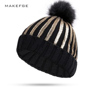 Hot New Stamping winter hats for women knit Pom Poms hat cap Brand Beanie Hat LadiesThicken Hedging Warm Skullies Female Bone