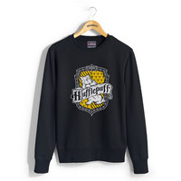 Hufflepuff Crest printed on Black color Crew neck Sweatshirt