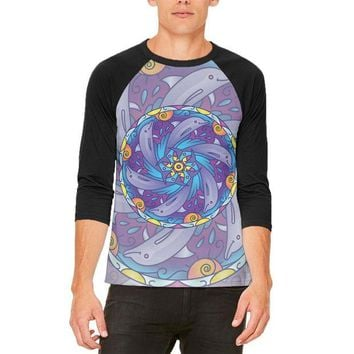 LMFCY8 Mandala Trippy Stained Glass Dolphins Mens Raglan T Shirt