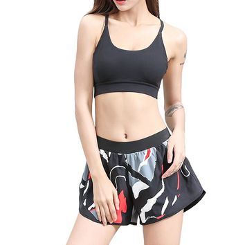 SEBOWEL High Waist Loose Print Yoga Shorts Women Cute Camouflage Gym Fitness Training Sport Shorts Girl Workout Running Shorts