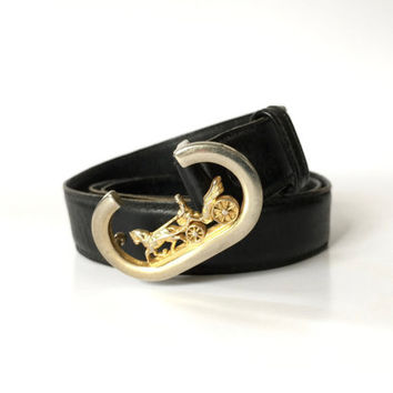 Vintage 1970s dark navy leather belt with gold horse and carriage clasp buckle / Made in Italy