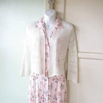 Lacy Cream Bolero/Shrug; Women's XS-Small Crochet/Knit-Style Open Cardi/Shrug/Jacket Alternative; U.S. Shipping Included