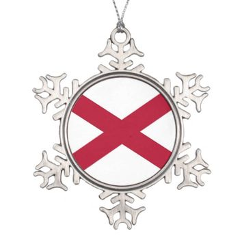 Patriotic Snowflake Ornament with Alabama Flag