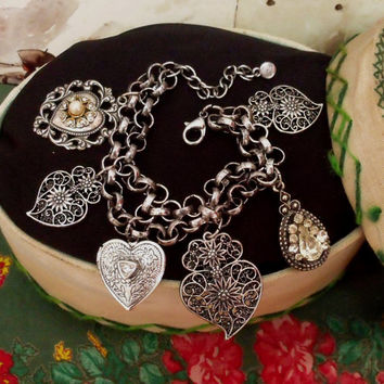 Portuguese Viana hearts filigree Locket bracelet charms made in Portugal silver hearts bracelet