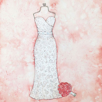 CUSTOM Wedding Dress Portrait - Bridal Illustration - First Anniversary Gift - Original Watercolor Wedding Dress Painting
