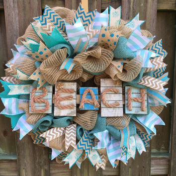 Nautical Wreath,Beach Decor,Beach Wreath, Beach Deco Mesh, Coastal Wreath,Shell Wreath, Beach Wedding,Double Front Door,Front Door Beach