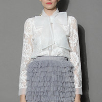 Sweet Doll Bowknot Lace Shirt White S/M