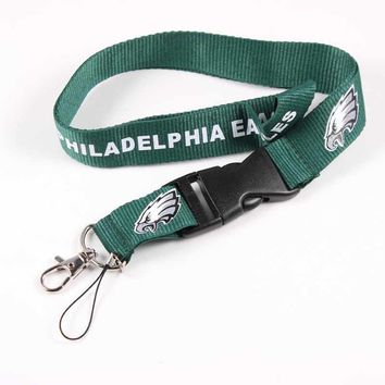 Philadelphia Eagles Prints Lanyards Neck Strap For ID Pass Card Badge Gym Key / Mobile Phone USB Holder 55cm DIY Hang Rope