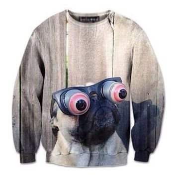 Pug Wearing Funny Eye Glasses Graphic Print Unisex Pullover Sweater | Gifts for Dog Lovers