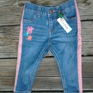 sz 9-12mo Slim Leg Blue Jeans - Infant girls - Handmade by The Hippie Patch