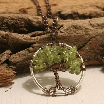 Petite Tree Of Life Necklace Peridot Pendant On Silver Chain Wire Wrapped Purple Semi Precious Gemstone Jewelry August Birthstone Jewelry