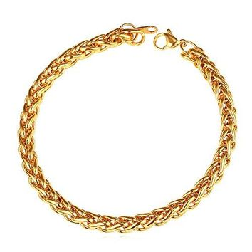 U7 3mm9mm Stainless Steel Twisted Rope Wheat Chain Bracelet83 Inches Length