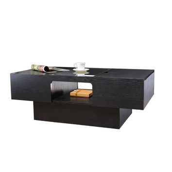 Brooks Glass Top Hidden Storage Black Coffee Table
