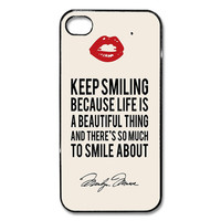 Iphone 4 4s 5 5s case cover Marilyn Monroe cute quote Red lips keep Smiling Made in USA fast SHIPPING heavy duty option
