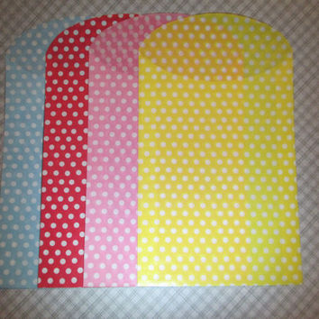 Polka dot candy bags, favor bags, in 4 different colors