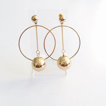Oversized ball hoop drop earrings