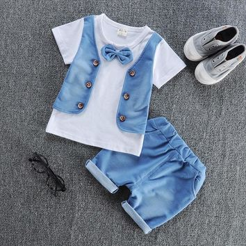 Baby boy clothes  cotton material fashion design boys clothing set A002-10 children's summer clothing