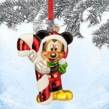 Licensed cool 2014 SANTA MICKEY MOUSE CANDY CANE SKETCH GLASS Christmas Ornament DISNEY STORE