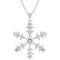 White Gold Rhodium Bonded Snowflake Pendant with Prong Set Round Cut Clear CZ