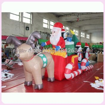 High quality large 23ft popular christmas decoration outdoor natale christmas inflatables Santa tractor