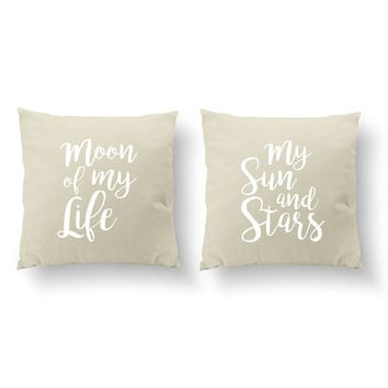 SET of 2 Pillows, Moon Of My Life My Sun And Stars Pillows, Wedding Gift, Throw Pillow, Her Pillow, Him Pillow, Cushion Cover,Gold Pillow