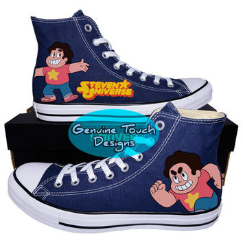 Custom Converse, Steven Universe, Steven Universe shoes, Steven Shoes, Custom Chucks, painted shoes, personalized converse hi tops