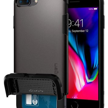 Spigen Flip Armor iPhone 8 Plus / iPhone 7 Plus Case with Durable Protection and Hidden Card Storage for Apple iPhone 7 Plus (2017) / iPhone 7 Plus (2016) - Gunmetal