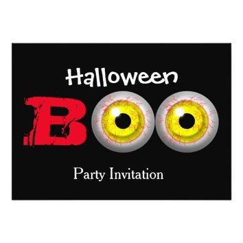 Boo Scary Zombie Eyes Halloween Themed Card