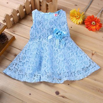 0-2 Years New Gift Summer Lace Vest Girls Dress Baby Girl Cotton Dress Chlidren Clothes Kids Party Clothing For Girls