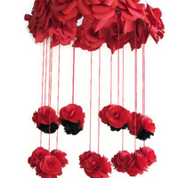 Paper Rose Mobile, Black and Red Roses Mobile, Red Wedding Decor, Red Wedding Mobile,Red Paper Flowers, Floral Ornament,Handcrafted Gift