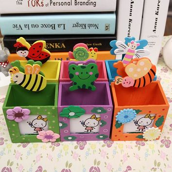 New Arrival Wooden Pen Container With Message Folder Cute Kawaii Cartoon Mini Wood Pencil Holder Promotional Products Gift Hot