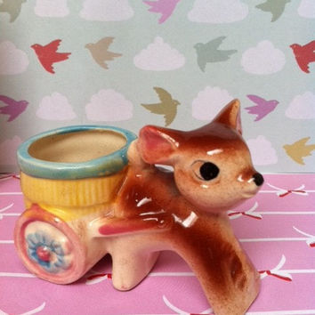 Vintage fawn figurine with wagon!! Posy vase, planter or egg cup! So cute!!