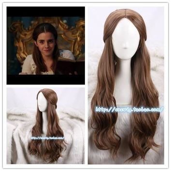 Beauty and the Beast Belle Wig Cosplay Brown Hair Body Wave Wig Halloween