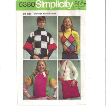 Simplicity 5380 Crochet Instructions for Misses' Pullover Top, Halter Top, Tote Bag, One Size, From 1972, Vintage Pattern, Home Crochet