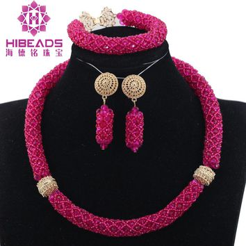 Pretty Hot Pink African Wedding Party Jewelry Sets Nigerian Bead Statement Necklace Set Mother Gift Necklace Free Shipping WE042