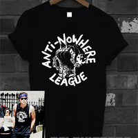 anti-nowhere league shirt 5 second of summer ashton irwin 5sos t-shirt printed black and white unisex size (DL-34)