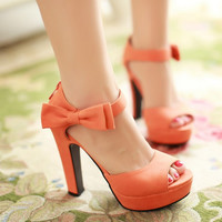 Summer Suede Pu Leather Ultra High Heels Platform Open Toe Sandals Women Thick Heel Sexy Cutout Bow Ankle Strap Shoes Pumps 43