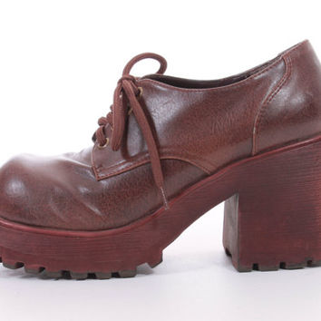90s Chunky Platform Lace Up Brown Oxfords Clueless Club Kid Hipster Shoes Womens Size US 8 UK 6 EUR 38-39