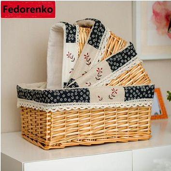 Wicker Books Crafts Basket Cosmetic Storage Box Tins House Keeper Furnishing Organizer Decorative Reto Desktop Sundries wasmand