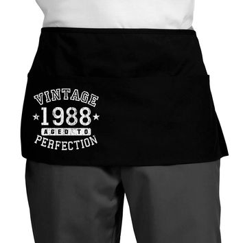 30th Birthday Vintage Birth Year 1988 Dark Adult Mini Waist Apron by