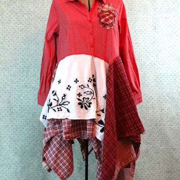 Upcycled Clothing / Funky Eco Tunic Dress / Lagenlook dress / Medium / XLarge / Curious Orange Cat