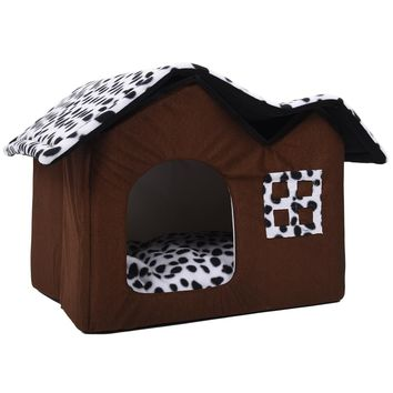 Hot Pet House Luxury High-End Double Dog Room Brown dog bed Double Pet House soft warm dog house 55 x 40 x 42 cm Pet Product