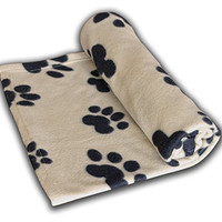 Pet Blanket Large For Dog Cat Animal 60 x 39 Inches Fleece Black Paw Print All Year Round Puppy Kitten Bed Warm Sleep Mat Fabric Indoors Outdoors (TAN COLOR) By RZA