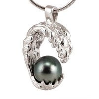 Ocean Wave Necklace With Black Tahitian Pearl, Sterling Silver