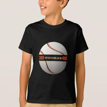 Boy Baseball Ball Custom Monogram T-Shirt